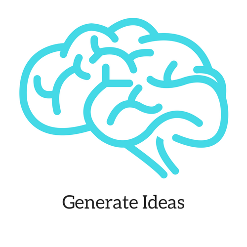 This icon represents the third step in my personal process when completing a project. This image includes an outline of a brain.