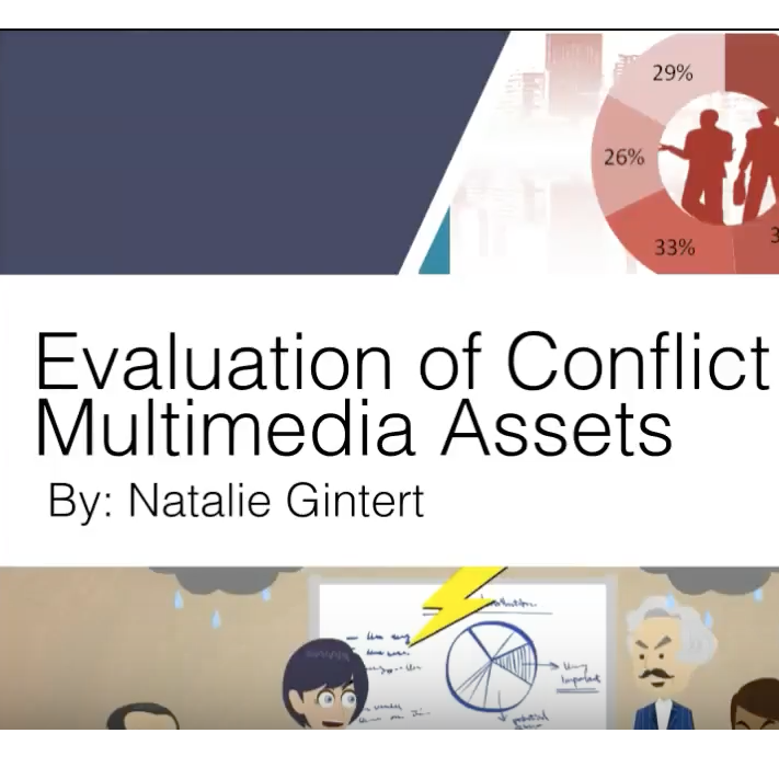 This is a picture of one of my portfolio pieces. It includes a picture of a powerpoint presentation slide that states Evaluation of Conflict Management Multimedia assets